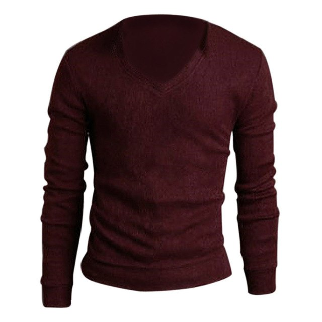 Casual Slim Fit V-neck Knitted Pullover Sweater-ivroe