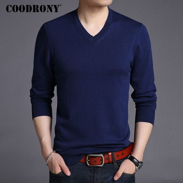 COODRONY Sweater Men Autumn Winter Thick Warm Pullover Men Casual V-Neck Pull Homme Solid Color Mens Knitted Sweaters Jumper 214-ivroe