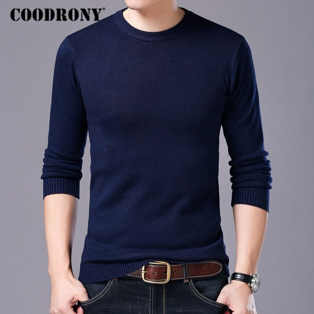 COODRONY Sweater Men Autumn Winter Warm Mens Knitted Wool Sweaters Solid Color Casual O-Neck Pull Homme Cotton Pullover Men 7209-ivroe