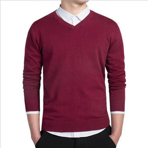 LEFT ROM stylish men fall slim Fit v-neck sweater/Male premium brand leisure Set head knit shirt/Large size knitted sweater XXXL-ivroe