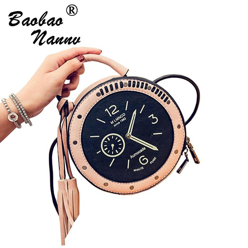 2017 New Woman Hit Color Fashion PU Leather Handbags Creative Clock Buns Tassel Rivet Circular Shoulder Bag Messenger Bag Tide-ivroe