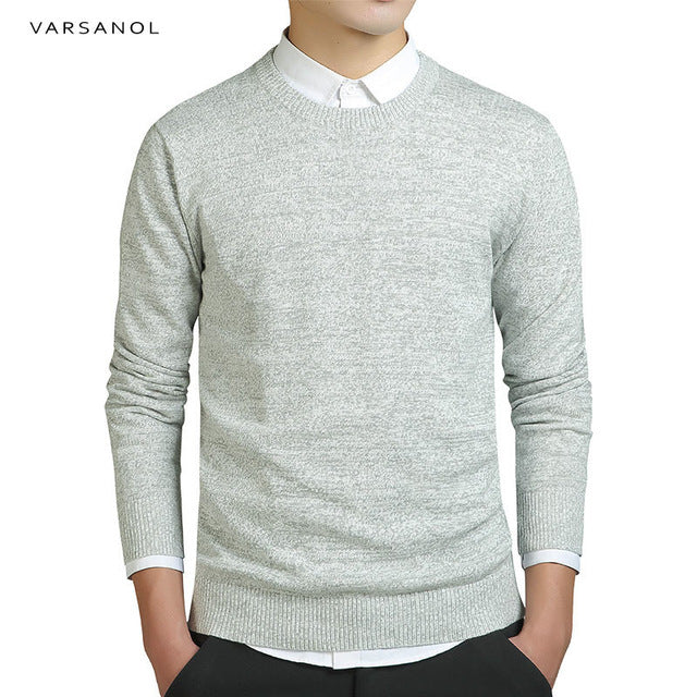 Varsanol Brand Clothing New Sweater Men's Long Sleeve Coat Solid Cotton Men Pullovers Sweaters O-Neck Knitted Casual Male Top3XL-ivroe