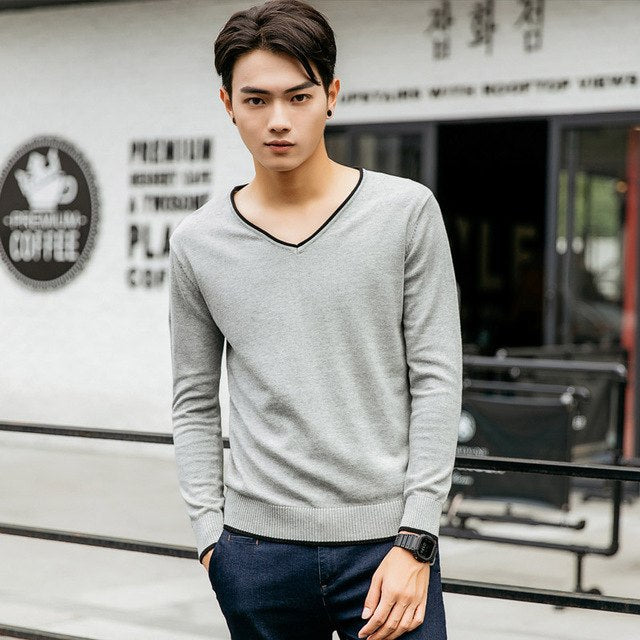 Solid Color Pullover Men V Neck Sweater Men Long Sleeve Shirt Mens Sweaters Casual Dress Male Brand Cashmere Knitwear Pull Homme-ivroe