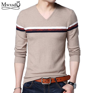 Mwxsd Pullover Men V Neck Sweater Men Long Sleeve Shirt Mens Sweaters Wool Casual Dress Brand Cashmere Knitwear Pull Homme-ivroe