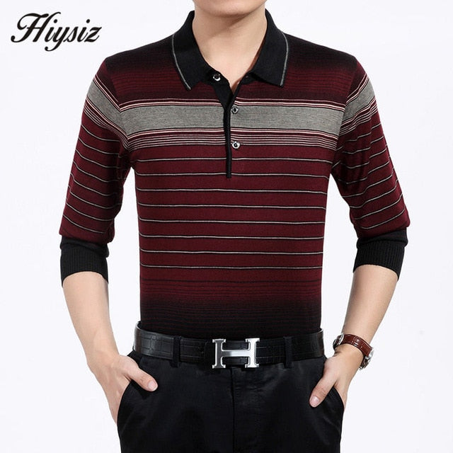 High Quality Autumn Cashmere Wool Sweaters Men Famous Brand Clothing Business Casual Striped Pullover Men Plus Size Shirts 66128-ivroe