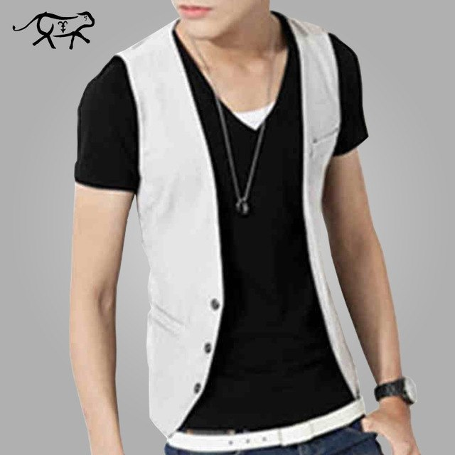 Low Price Men Vest New Style Fashion Slim Fit Men's Clothing v-Neck Blazers Vest Thin Section Male Casual Waistcoat Male Black-ivroe