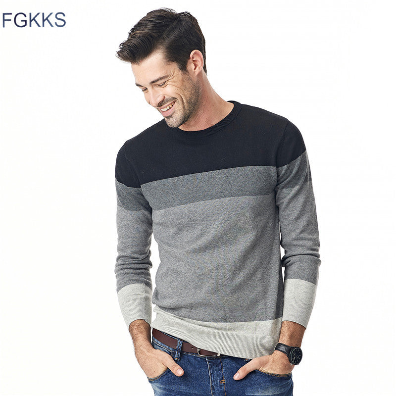 FGKKS 2017 New Autumn Fashion Brand Casual Sweater O-Neck Striped Slim Fit Knitting Mens Sweaters And Pullovers Men M-5XL-ivroe