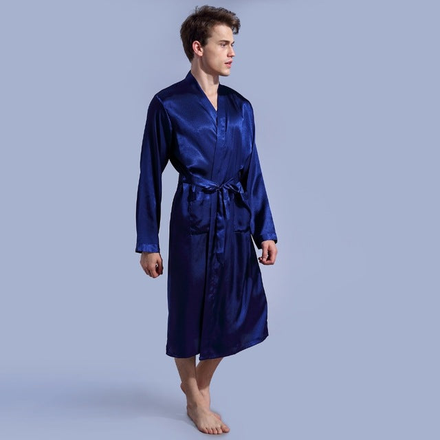 1844Brand Long Robe Emulation Silk Soft Home Bathrobe Plus Size S-XXL Nightgown For Men Kimono Robes Autunm Spring Winter Summer-ivroe