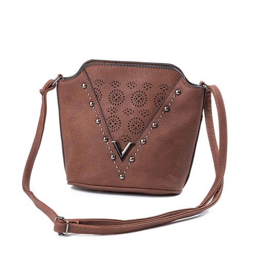 REPRCLA Brand Hollow Flower Small Shoulder Bag PU Leather Women Messenger Bags Vintage Rivet Crossbody Bags for Women Bag-ivroe