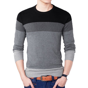 Autumn Fashion Brand Casual Sweater O-Neck Striped Slim Fit Mens Sweaters Pullovers Men Pull Homme Contrast Color Knitwear 2018-ivroe