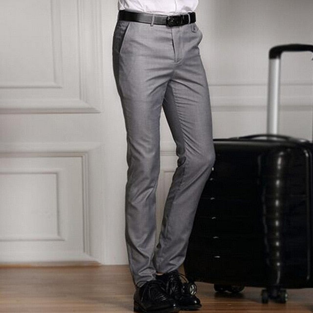 2017 Spring And Summer Male Casual Dress Pants Slim Skinny Men Suit Pants Commercial Western-Style Business Herren Hose-ivroe