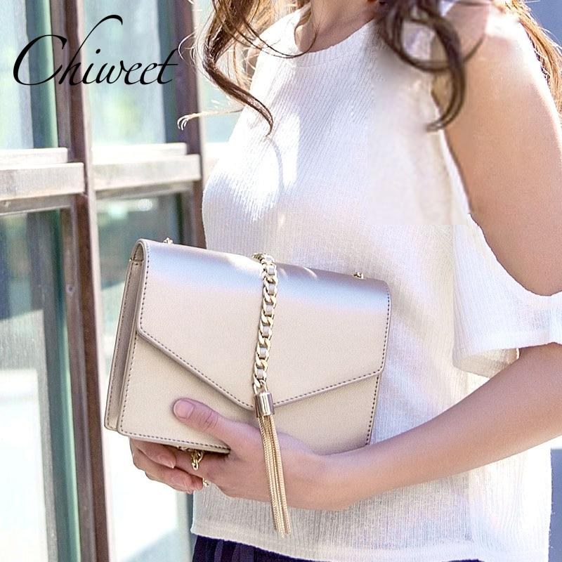 Luxury Brand Women Leather Handbags Designer Gold Small Crossbody Bags Women Envelope Messenger Shoulder Bag Female Tassel Bags-ivroe
