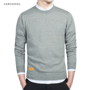 Varsanol Mens Cotton Sweater Pullovers Men O-Neck Sweaters Jumper Autumn Thin male Solid Knitting Clothing Grey Black M-3XL New-ivroe