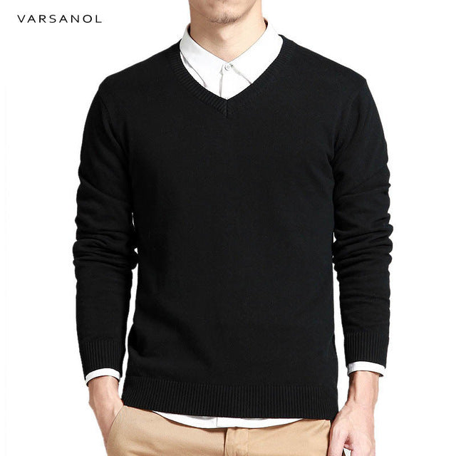 Varsanol Cotton Sweater Men Long Sleeve Pullovers Outwear Man V-Neck sweaters Tops Loose Solid Fit Knitting Clothing 8Colors New-ivroe