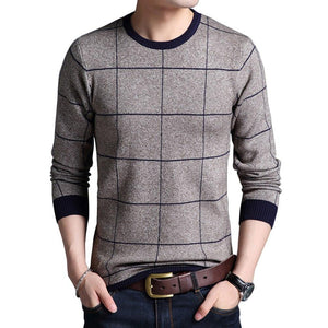 Mwxsd Brand Men's Autumn Winter Striped Plaid pullover Sweaters Patchwork Knitted sweater for Men O-neck Casual male Sweater-ivroe