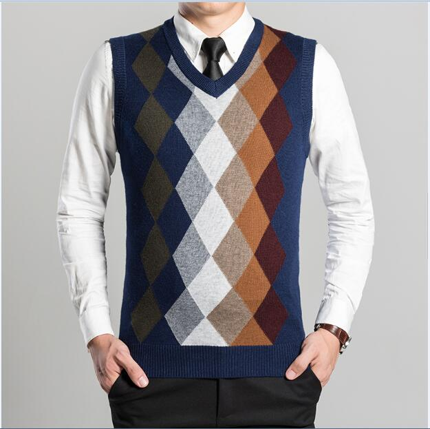 2017 New Arrival Fashion Design Mens V-Neck Diamond Argyle Pattern Cashmere Sweater Vest-ivroe