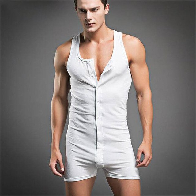 KWAN.Z male jumpsuit cotton mens sleeveless onesie comfortable body suits sexy joint clothing sleepwear bodysuit mens sexy ones-ivroe