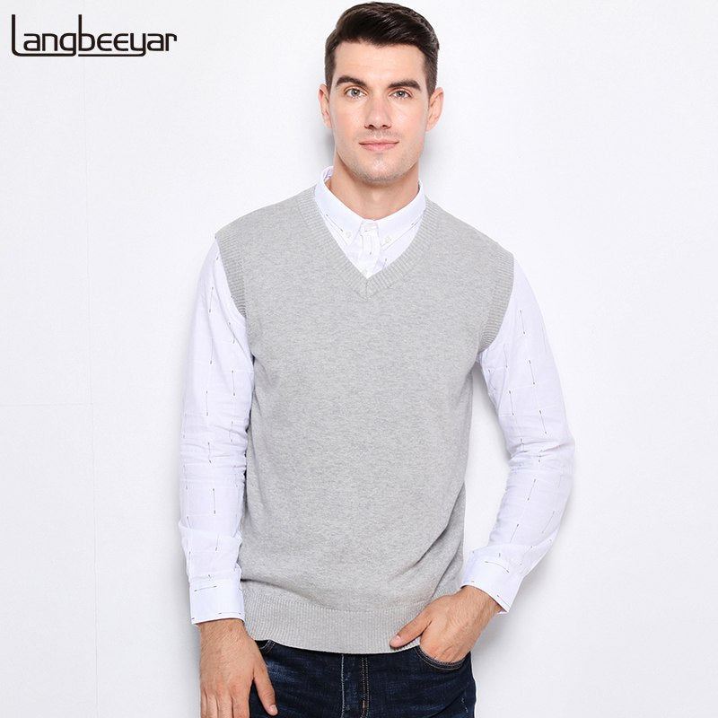 New Autumn Winter Fashion Brand Clothing Pullover Mens Sweaters V-Neck Sleeveless Vest Slim Fit 100% Cotton Sweaters For Men-ivroe