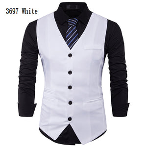 Men Suit Vest Classic V Collar Dress Slim Fit Wedding Waistcoat Mens Formal Slim Dress Sleeveless Vest Men Black Gilet Homme 2XL-ivroe