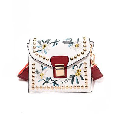 Vintage Rivet Floral Embroidered Handbags Leather Bags Women Purse Ethnic Embroidery Bag Small Shoulder Women Messenger Bags-ivroe
