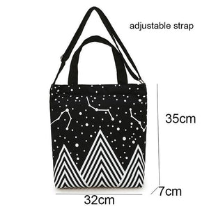 TANGIMP Starry Sky Canvas Handbags Shopping Shoulder Eco Bags Tote Women Daily Lady Female Totos Bolsa Stars Printed Beach Bags-ivroe