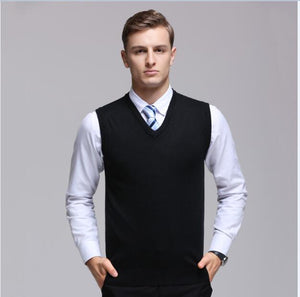 High quality men's cashmere sweater vest autumn & winter sleeveless sweater male office solid color V-neck wool vest pullover-ivroe