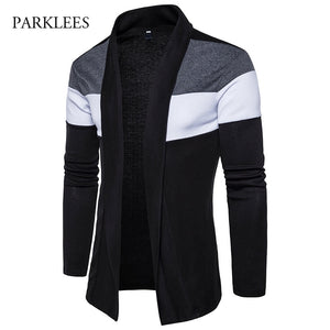Shawl Collar Cardigan Men Pull Homme 2017 Fashion Autumn Slim Fit Long Mens Cardigans Casual Hit Color Knitted Cardigan Sweater-ivroe