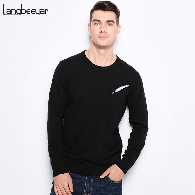 New Autumn Winter Fashion Brand Clothing Men Knitted Sweater Feather Pattern Slim Fit Pullover Men 100% Cotton Sweaters For Men-ivroe
