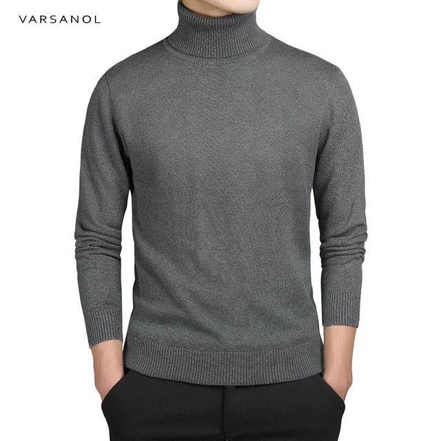 Varsanol Brand New Casual Turtleneck Sweater Men Pullovers Autumn Fashion Style Sweater Solid Slim Fit Knitwear Full Sleeve Coat-ivroe