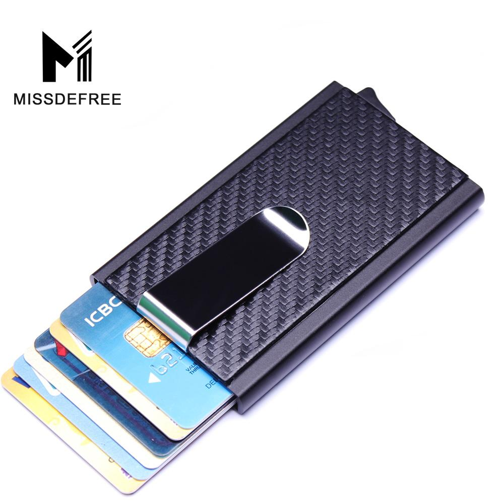 Aluminum Wallet With PU Leather Pocket ID Credit Card Holder RFID Metal Mini Slim Wallet Automatic Pop up Card Case Carbon Fiber-ivroe