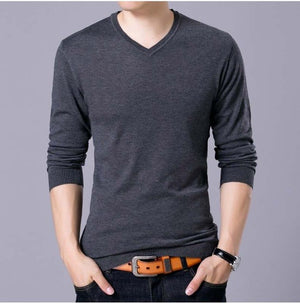 Mwxsd brand autumn Men's casual V neck solid Sweater men cotton pullover sweater high quality male christmas sweater homme pull-ivroe