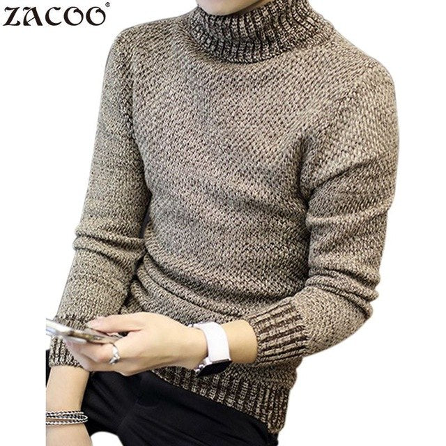 ZACOO Winter Thick Warm Cashmere Sweater Men Turtleneck Men Brand Mens Sweaters Slim Fit Pullover Men Knitwear Double collar-ivroe