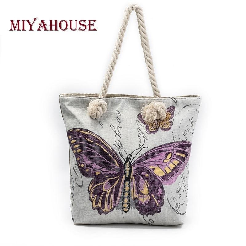 Miyahouse Butterfly Printed Casual Tote Shoulder Bag Women Canvas Ladies Beach Bag Large Capacity Women Shopping Bag-ivroe