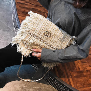 LXTAZG new Fashion Woolen Women Bags Famous Brand Luxury Wool Handbag Designer Envelope Crossbody Bag tassel Shoulder Bag Clutch-ivroe