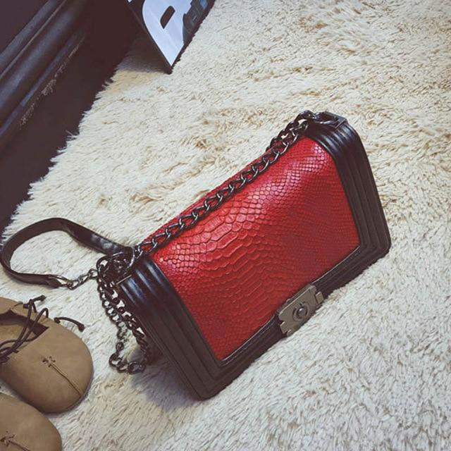 Women Crocodile PU Leather Messenger Bag Luxury Handbags Female Designer Shoulder Bag Chain Shoulder Strap Flap Bags SS0300-ivroe