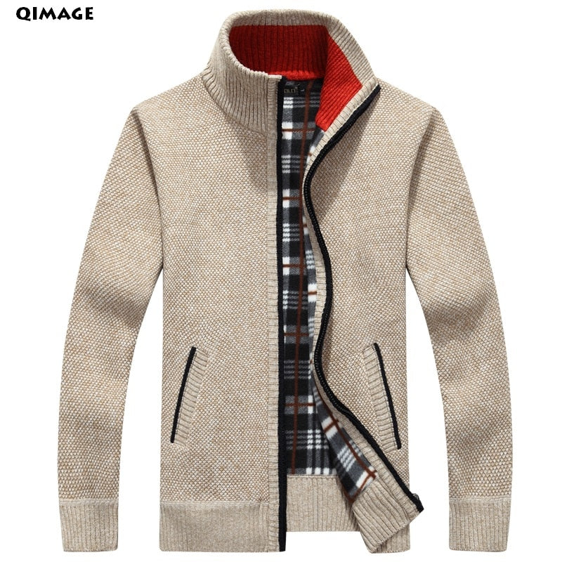 QIMAGE 2017 Men's Sweaters Autumn Winter Warm Cashmere Wool Zipper Pullover Sweaters Man Casual Knitwear Plus Size M-XXXL-ivroe