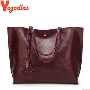 Yogodlns Fashion Women Handbag Vintage PU Oil Leather Bag Large Capacity Tassel Tote Bag Ladies Big Shoulder Bags-ivroe