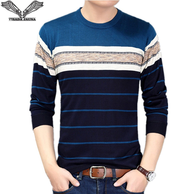 VISADA JAUNA 2017 New Style Autumn Casual Fashion Mens O-neck Sweater Slim Fit Knitting Pullover Plus Size Men's Sweater N6620-ivroe