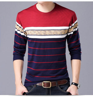 Mwxsd Brand men's Casual striped pullover sweater shirt Autumn Winter men slim fit Knitted pullover soft cotton Sweater shirt-ivroe