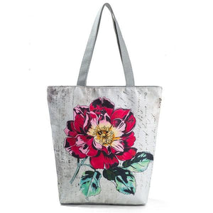 Miyahouse Vintage Floral Design Beach Bags For Women Canvas Tote Bag Fashion Female Single Shoulder Shopping Bags Flower Handbag-ivroe