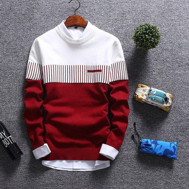 Men Autumn Sweater Knitted Warm Pullovers Patchwork O-neck Long Sleeve Standard Sweaters Male Jumper Casual Tops-ivroe
