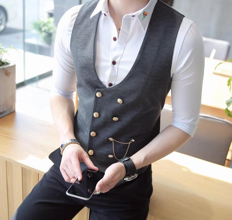 Mens Double Breasted Vest Men Dress Suit Vest Men Formal Black Gtrey Vest Suit Gilet Vest Colete Masculino Plus-size M - 5XL-ivroe