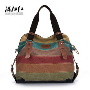 2017 Women Canvas Tote Bag Patchwork Lady Shoulder Bags Fashion Striped Girls Handbags Sac A Main Female De Marque Bolsos Mujer-ivroe