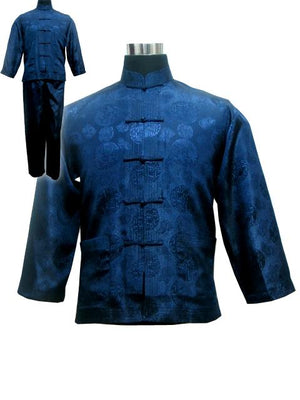 Vintage Navy Blue Chinese Men Satin Pajama Set Plus Size XXXL Pyjamas Suit Long Sleeve Shirt &Pants Trousers Sleepwear Nightwear-ivroe