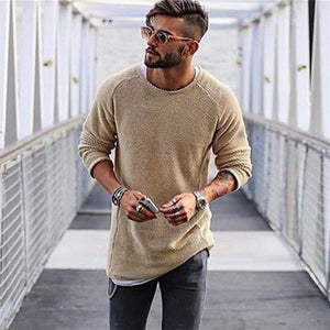 Winter Sweater Men Autumn New pullover Slim Fit Solid Thin Mens Knitted Sweaters Male Curl Hem Fashion Men's Tops-ivroe