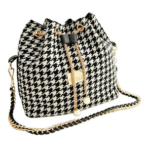 AUAU Women Houndstooth bag chains fashion bucket bag canvas patchwork shoulder bag messenger bag Black and white grid-ivroe