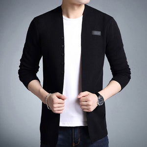 Mwxsd Brand men Middle-Long length Solid Cardigan Sweater shirt Male Casual Autumn solid cardigan sweater plus 3xl-ivroe