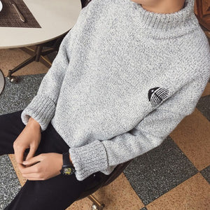 Aelfric Eden Sweater Pullover Men 2017 Male Brand Casual Slim Cat Patchwork Fishbone Embroidery Man Knitted Cotton Sweaters S004-ivroe