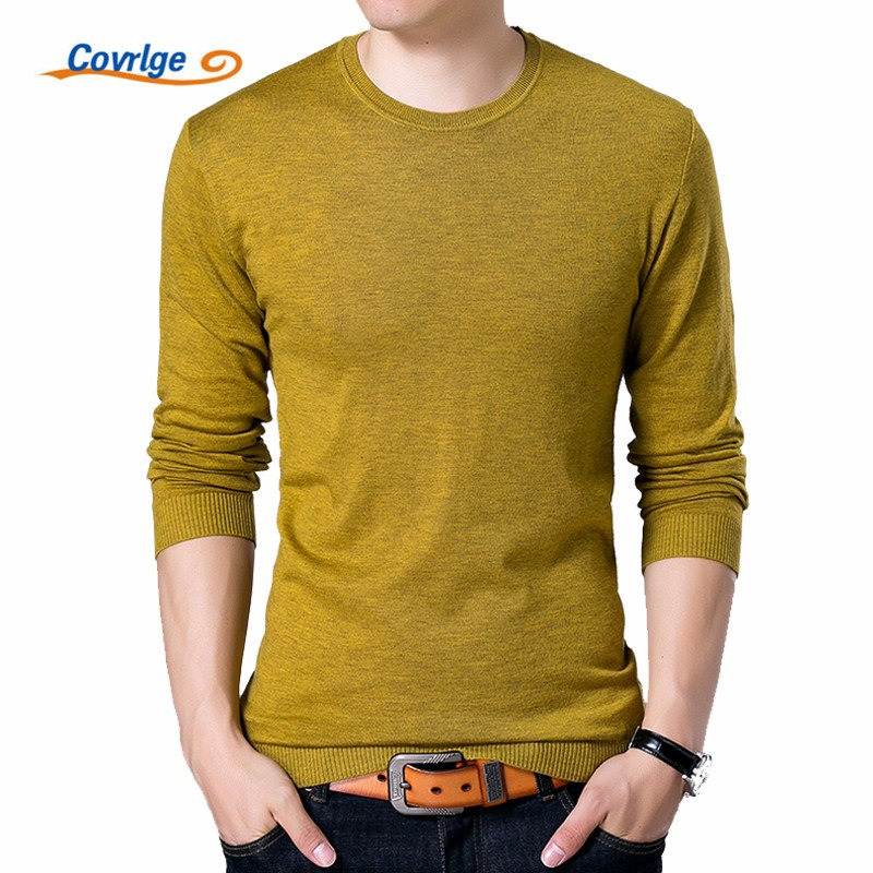 Covrlge Fashion Solid Men's Sweater 2017 Autumn New O-neck Black Sweater Mens Jumpers Male Pollover Knitted Polo Shirt MZL001-ivroe