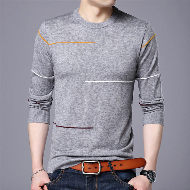 Covrlge 2017 Autumn New Men's Sweater Fashion Slimfit Pullover Male Striped Pullover Men Brand Clothing Turtle Neck Shirt MZL010-ivroe